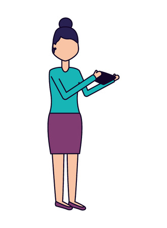 woman using mobile on white background vector illustration Ilustração