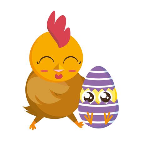 Ilustración de vector de huevo de gallina y pollo de Pascua feliz Ilustración de vector