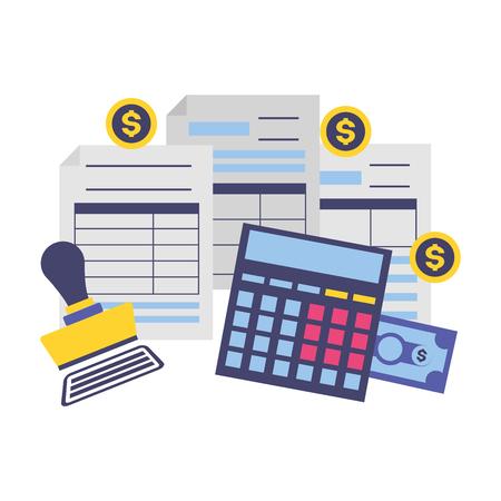 pagamento delle tasse documento fattura timbro pagato calcolatrice denaro illustrazione vettoriale vector