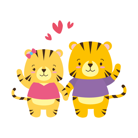 cute couple tiger animal cartoon vector illustration design