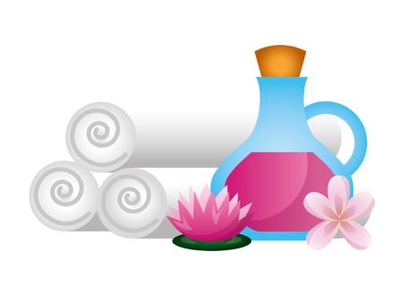 Bouteille d'huile serviettes fleurs lotus spa thérapie vector illustration