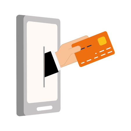 hand mobile bank card online banking vector illustration