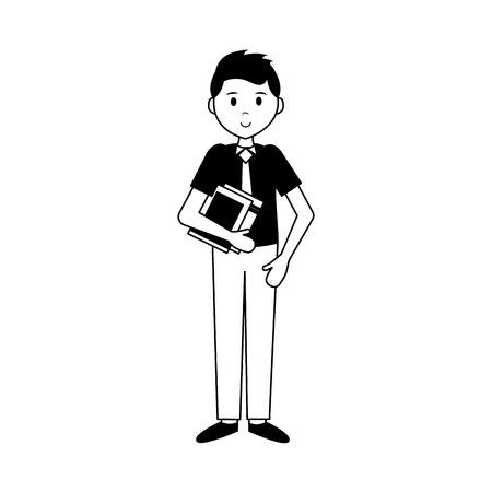 man with book teachers day vector illustration Foto de archivo - 123095204