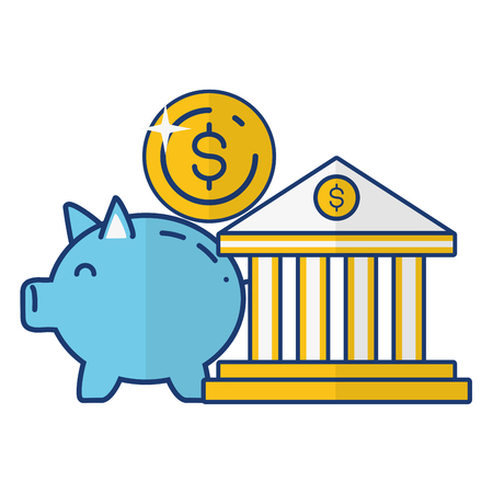 piggy bank coin dollar online payment vector illustration