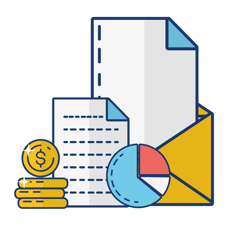 mail money coins report online payment vector illustration Imagens - 123095221