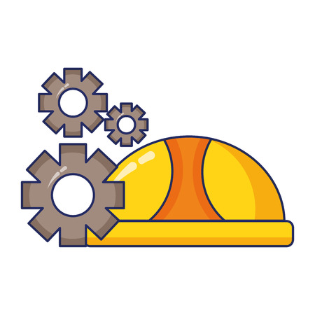 hardhat and gears labour day vector illustration Vetores