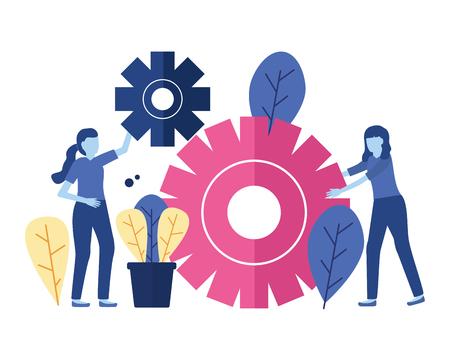 business woman gears teamwork vector illustration design