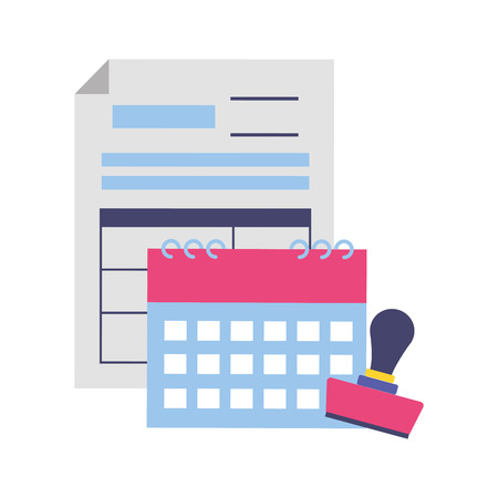 calendar report paid stamp tax payment vector illustration Ilustrace