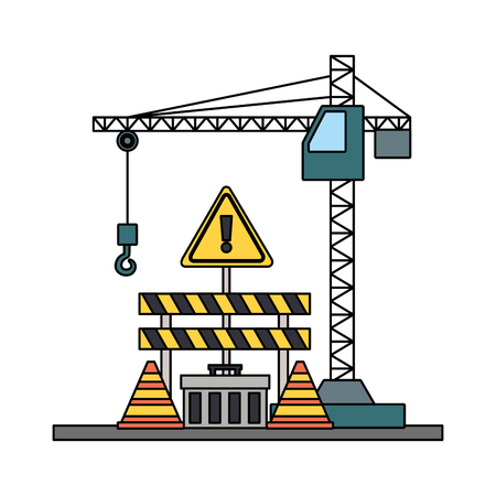 crane construction barricade toolbox warning sign tools vector illustration Ilustrace