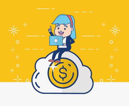 woman cloud computing money online banking vector illustration
