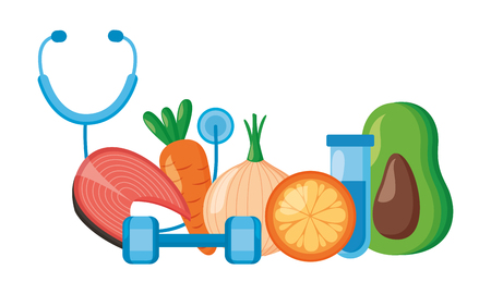 medical sport food world health day vector illustration Illusztráció