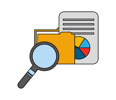 folder with document and magnifying glass vector illustration design