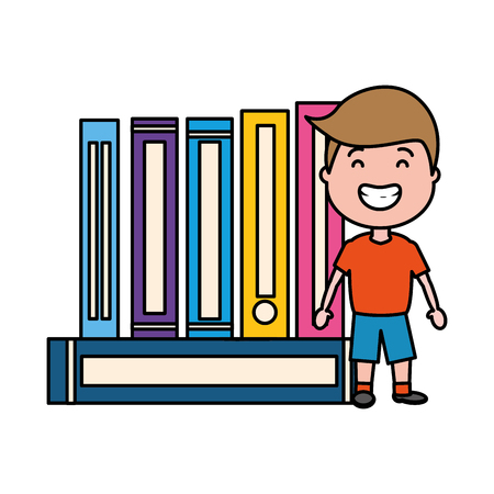 young man with stack of books isolated icon vector illustration design Illustration