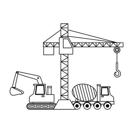 construction crane bulldozer concrete mixer truck machinery vector illustration