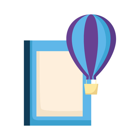 world book day hot air balloon white background vector illustration Banque d'images - 123095323