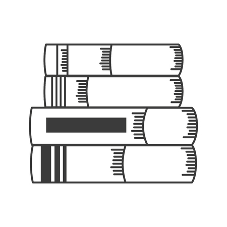 books stacked school supplies vector illustration design