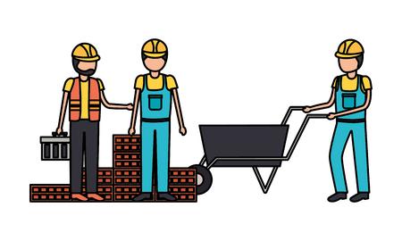 workers construction wheelbarrow bricks toolbox vector illustration Illustration