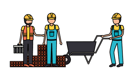 workers construction wheelbarrow bricks toolbox vector illustration Illusztráció