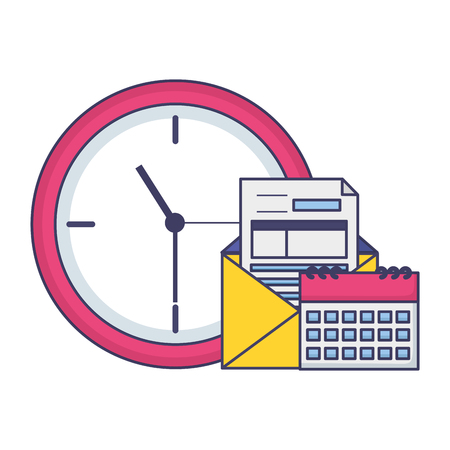 clock calendar coins tax time payment vector illustration