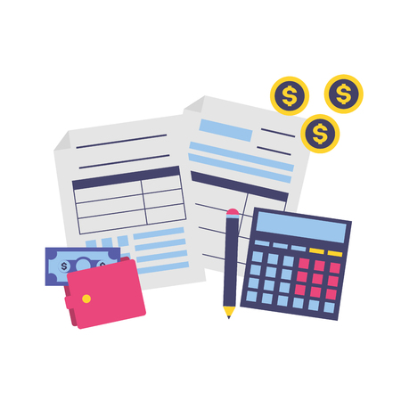 tax payment document calculator wallet money vector illustration