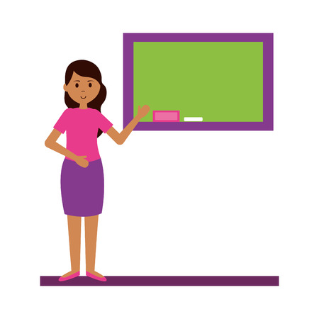 woman with blackboard teachers day card vector illustration Illustration