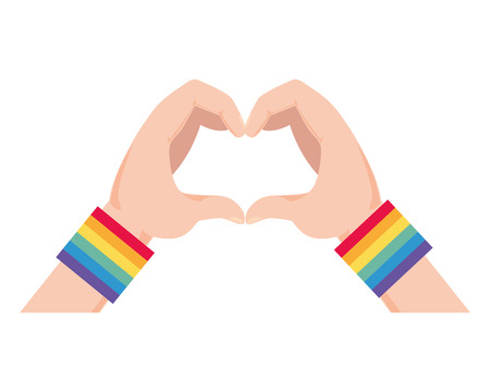 hands with rainbow colors shape heart lgbt pride love vector illustration Stock Vector - 121391068