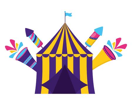 carnival tent fireworks fsetive vector illustration design Stock Illustratie