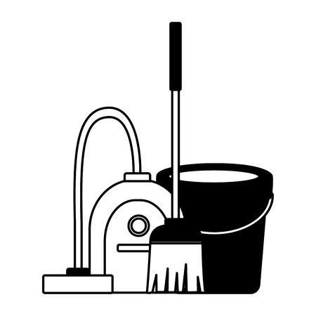 Ilustración de vector de herramientas de limpieza de resorte de escoba de cubo de vacío