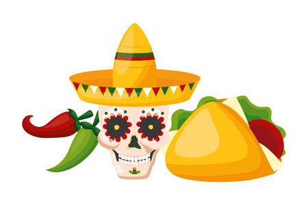 Cráneo con sombrero taco y jalapeño cinco de mayo ilustración vectorial