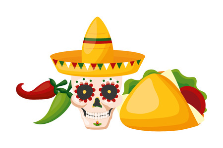 skull with hat taco and jalapeno cinco de mayo vector illustration Vectores