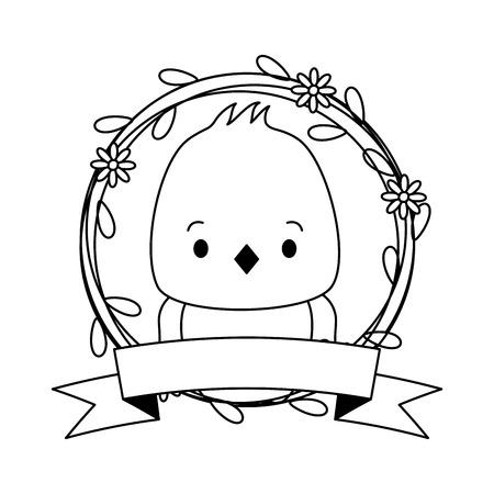 cute chicken cartoon sticker flowers vector illustration Foto de archivo - 123095408