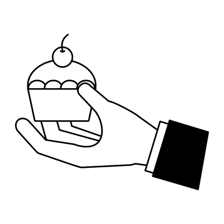 hand holding cupcake on white background vector illustration Çizim