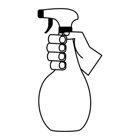 hand holding spray spring cleaning tool vector illustration