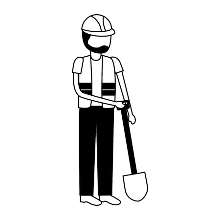 worker construction with shovel tool vector illustration