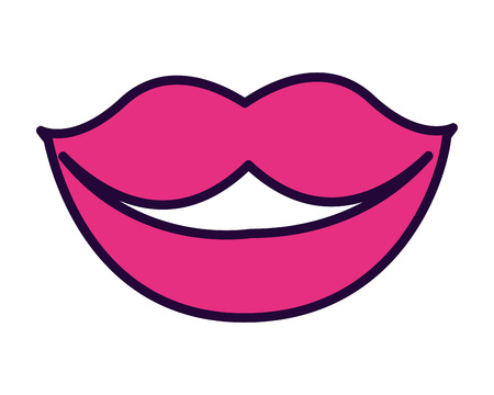 lips mouth female on white background vector illustration design