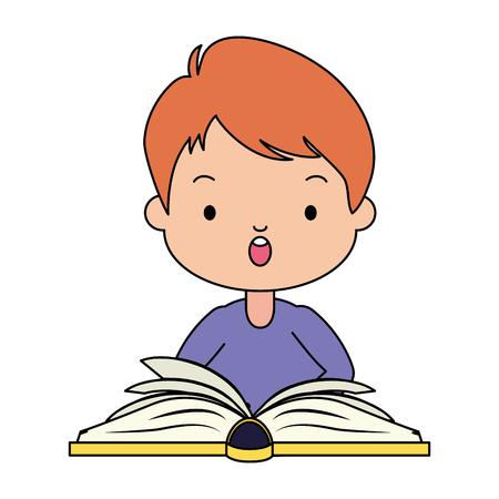 boy open textbook - world book day vector illustration