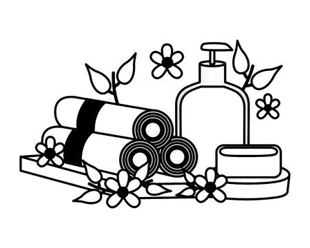 towels soap cream spa treatment therapy vector illustration