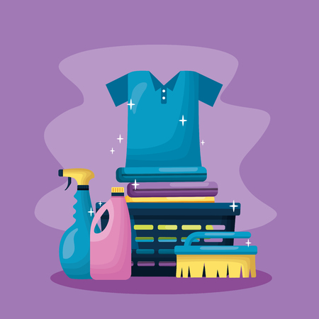 laundry clothes shampoo brush spring cleaning tools vector illustration Ilustração