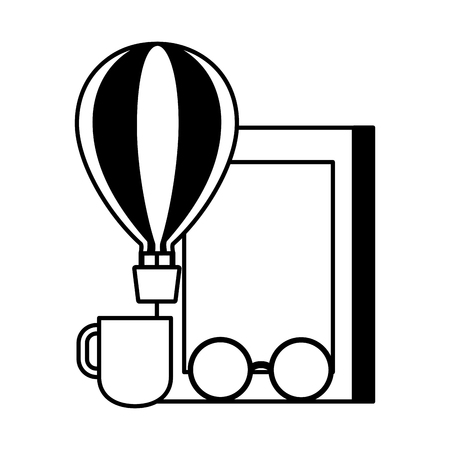 world book day hot air balloon eyeglasses coffee cup vector illustration Banque d'images - 123095524
