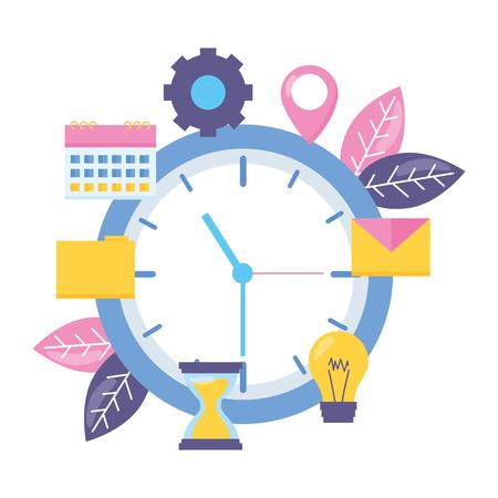 clock work time bulb calendar email folder vector illustration