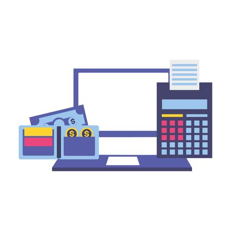 laptop calculator wallet money tax time payment vector illustration Standard-Bild - 123095535