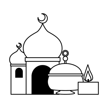 taj mahal tea pot candle indian culture vector illustration design
