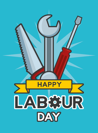 happy labour day saw wrench screwdriver tools vector illustration