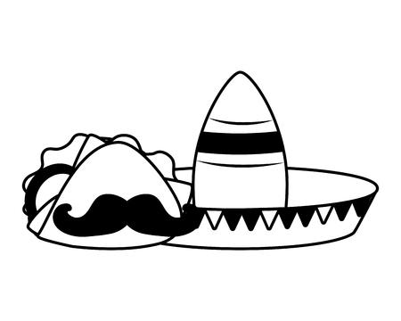 hat taco mustache mexico cinco de mayo vector illustration