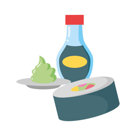 sushi wasabi sauce fast food white background vector illustration  イラスト・ベクター素材