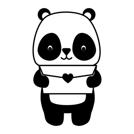 cute panda cartoon mail love vector illustration Standard-Bild - 121395549