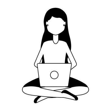 woman using laptop on white background vector illustration 版權商用圖片 - 123095592