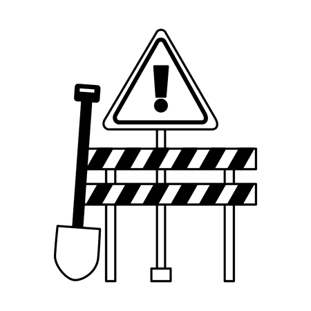 construction equipment shovel barrier warning sign vector illustration Ilustração