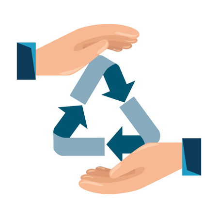 hands with recycle arrows symbol vector illustration design