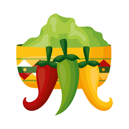 chili pepper jalapeno sauce in bowl vector illustration